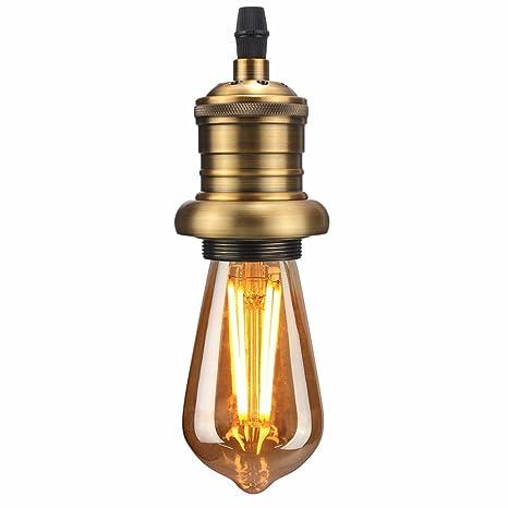KingSo E27 Portalámparas Capacidad de cobre Vintage Edison ...