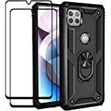 Flyme for Moto One 5G Ace Case/Moto G 5G 2021 Case with Tempered Glass Screen Protector (2 Pack), Dual Layer Hybrid Tank Armo