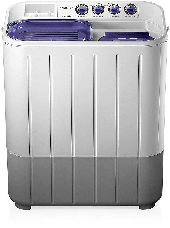 Samsung 7.2 kg Semi Automatic Top Loading Washing Machine  WT725QPNDMPXTL, White and Blue, Center Jet Pulsator  Washing Machines   Dryers