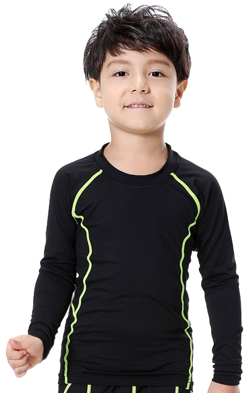 Boys Quick-Dry Long Sleeve Top Compression Baselayer T-Shirt - Moisture Wicking