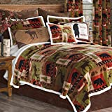 Black Forest Decor Wildlife Patch Plush Bed Set - Twin