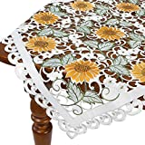 HomeCrate Decorative Sunflower Table Topper, Handmade Embroidered Cutwork - 36'' Square