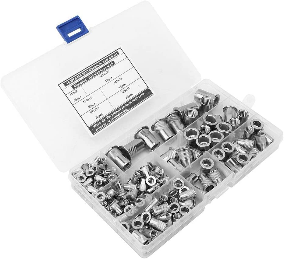 Riveting Tool Kit for Fastening Insert Nut Machine Accessory Rivet Nut Set 304 Stainless Steel Durable Corrosion Resistant Fastening Piece
