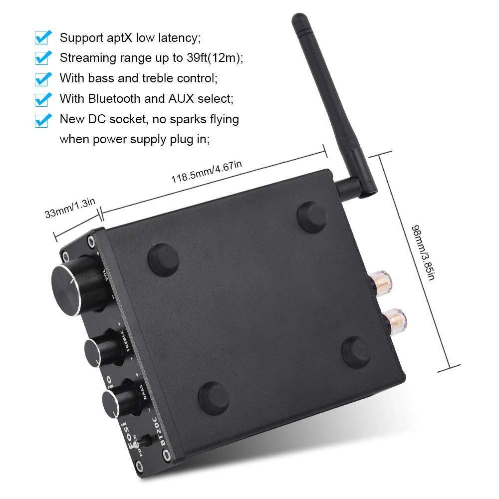 BT20C Black Fosi Audio Bluetooth 4.2 Stereo Amplifier 2 Channel Home Receiver Mini Hifi Class D Integrated Amp 2.0CH Digital Power Amplifier for Passive Speakers with Bass and Treble Control 50W X 2