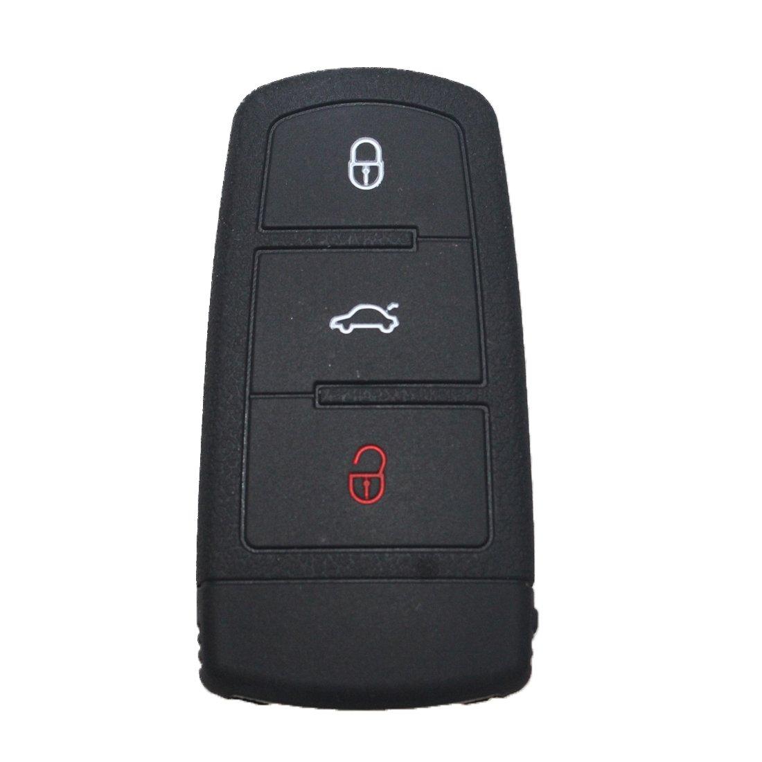 tuqiang/® Coque cl/é Cover Sets de cl/és de voiture Cl/é en silicone 3/boutons for Volkswagen CC Magotan PASSAT B7/2013/1pc Noir