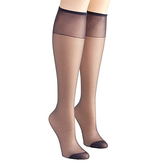 24f451f3a Hanes Silk Reflections Knee High Reinforced Toe - 2 Pack (775) O S Classic  Navy at Amazon Women s Clothing store
