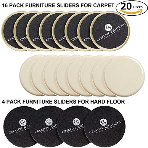 Premium Furniture Sliders (20 Pieces) | 16-Pack for Carpet | 4-Pack for Hard Floor Surfaces | 3½-inch Diameter | by Creative Solutions
