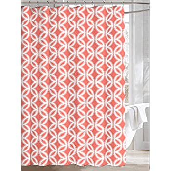 Coral Grey White Canvas Fabric Shower Curtain  Chain Link Circle DesignAmazon com  Red Coral Treenature Custom Shower Curtain 66 x 72  . Coral And Teal Shower Curtain. Home Design Ideas