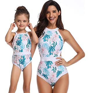 b7d76a6dc1c8c Mommy and Me One Piece Family Matching Bikini Swimwear Floral Strap Women Baby  Girls Bathing Suit