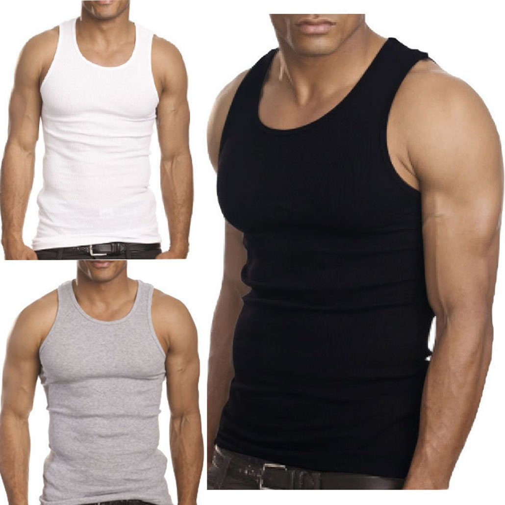 2015 Muscle Men Premium Cotton A Shirt Wife Beater Ribbed Tank Top