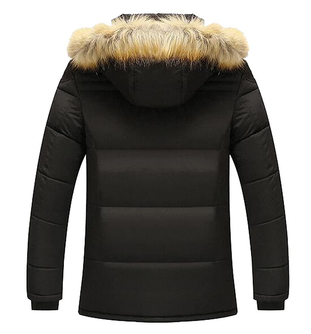 MK988 Mens Winter Faux Fur Lined Hooded Quilted Jacket Coat Outerwear
