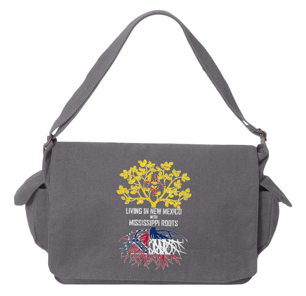 Tenacitee Living In New Mexico with Mississippi Roots Grey Brushed Canvas Messenger Bag