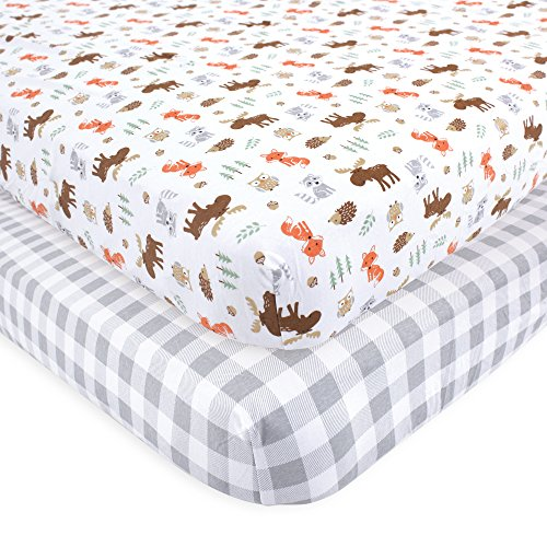 (Hudson Baby Cotton Fitted Crib Sheets, 2 Pack, Woodland, One)