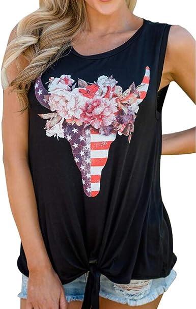 YUFAA Camiseta con Estampado de Cabeza de Toro Casual para Mujer, Estampado en la Parte Delantera, Nudo, Chaleco, Camiseta Tops Camisa de Entrenamiento (Color : Negro, Size : S): Amazon.es: Ropa y