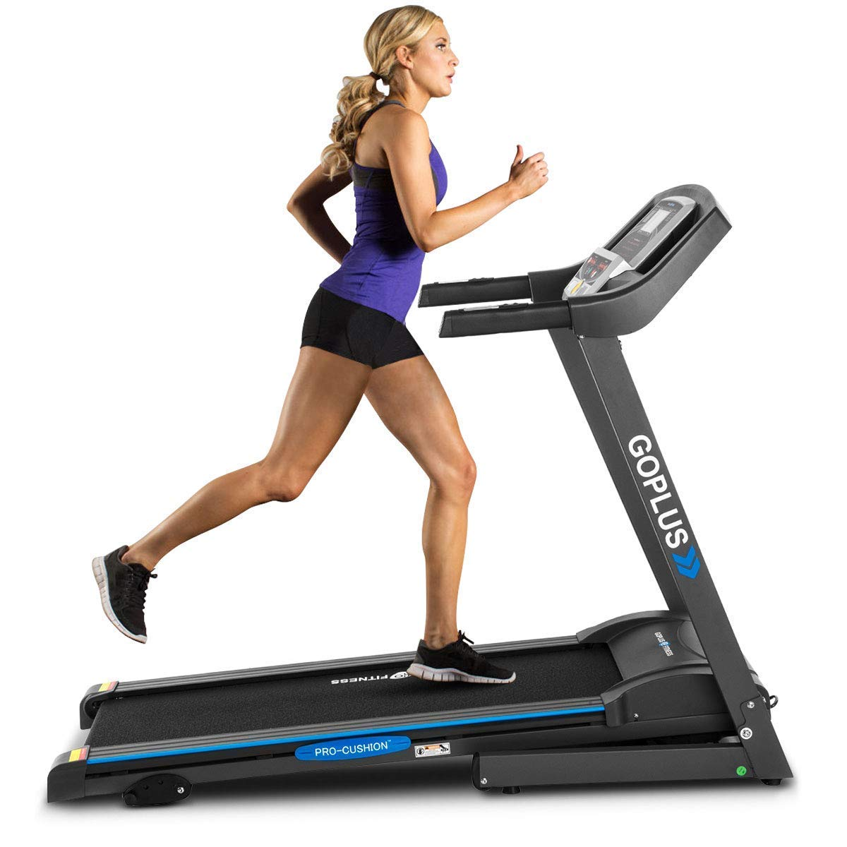 GOPLUS 2.25HP Electric Folding Treadmill with Incline, Walking Running Jogging Fitness Machine with Blue Backlit LCD Display for Home Gym Cardio Fitness
