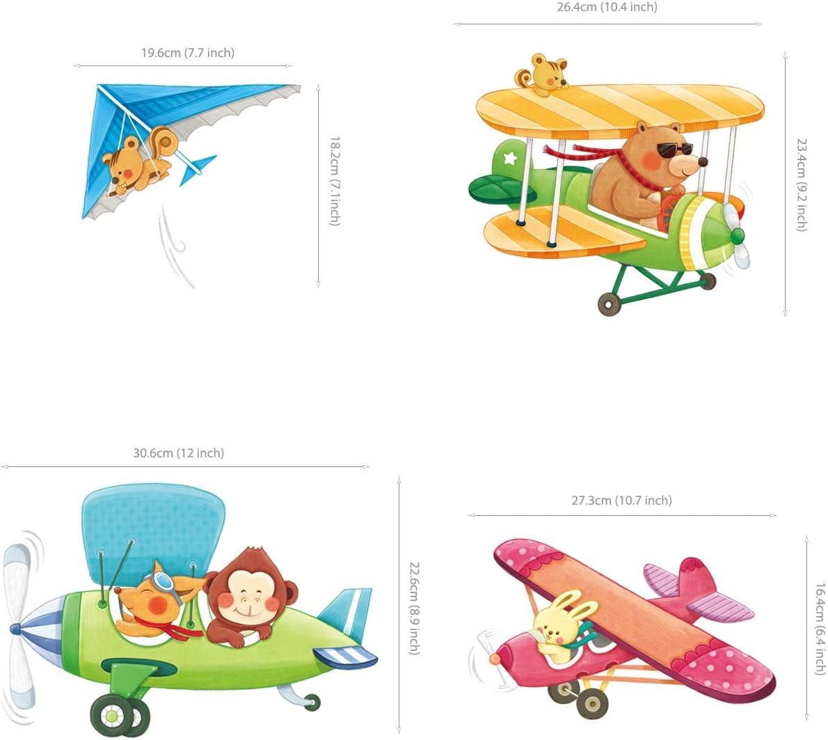 DECOWALL DA-1901 Biplani con Animali Adesivi da Parete Decorazioni Parete Stickers Murali Soggiorno Asilo Nido Camera da Letto per Bambini