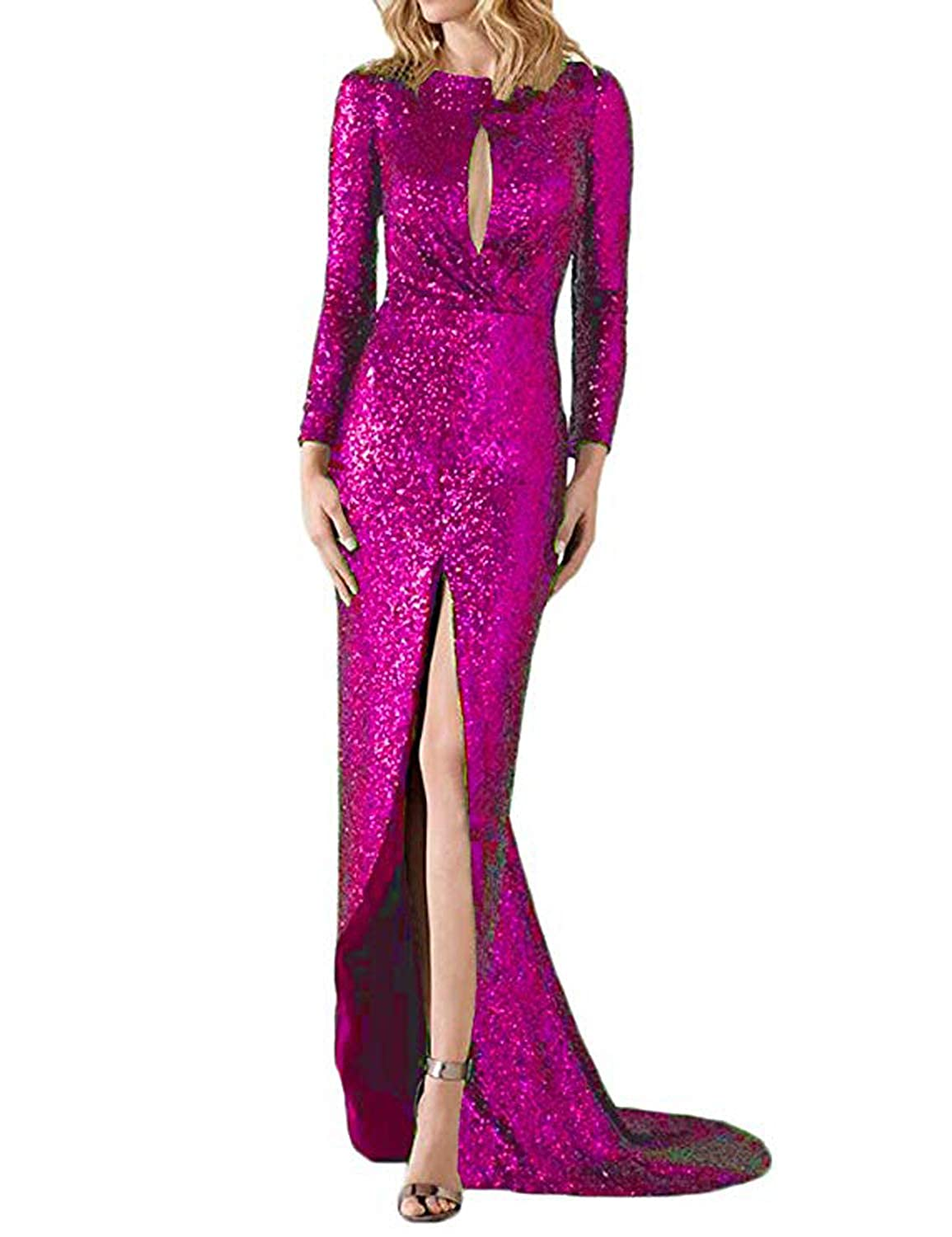 Fuchsia CIRCLEWLD Slim Sequin Evening Dresses with Slit Long Sleeves Wedding Party Women Gown E217