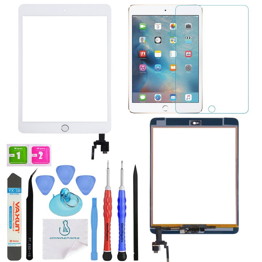 OmniRepairs Touch Screen Glass Digitizer Retina Display OEM Assembly with Home Button, IC Chip Compatible for iPad Mini 3 (A1599, A1600) with Adhesive Tape, Screen Protector and Repair Toolkit (White)