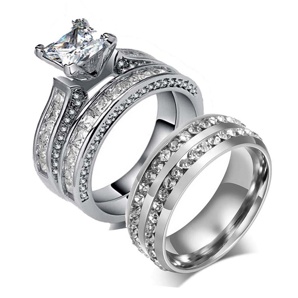 LOVERSRING Couple Ring Bridal Set His Hers White Gold Plated CZ Stainless Steel Wedding Ring Band Set