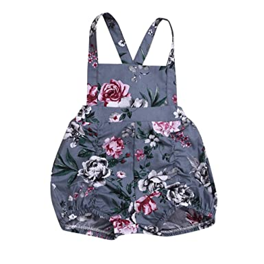 5f55f6414b2d Diufon 2019 New Newborn Infant Toddler Baby Girls Floral Pattern Strap Tank  Romper Bodysuit Summer Retro