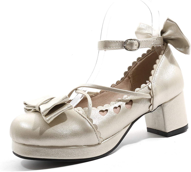 Womens Plarform Peep Toes Mary Jane Block High Heels Patent Leather Pumps Lolita
