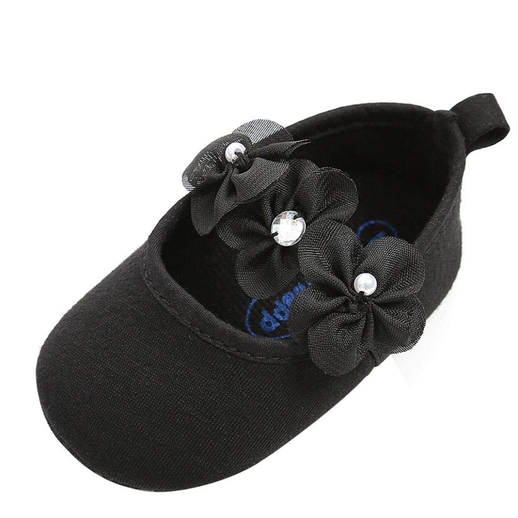 Tronet Baby Shoes, Toddler Girls Pearl Fashion Cotton First Walkers Non-Slip Kid Shoes (Black, 11(Age:0-6Months))