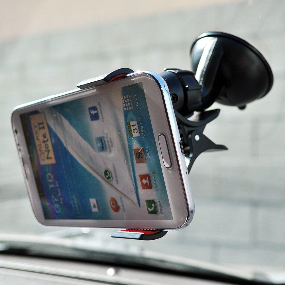 LG G Flex Samsung Galaxy S4 HTC One 2 M8 Black// Red Universal Phone// MP3 Suction Car Mount Compatible w// LG G Pro 2 Motorola Moto G