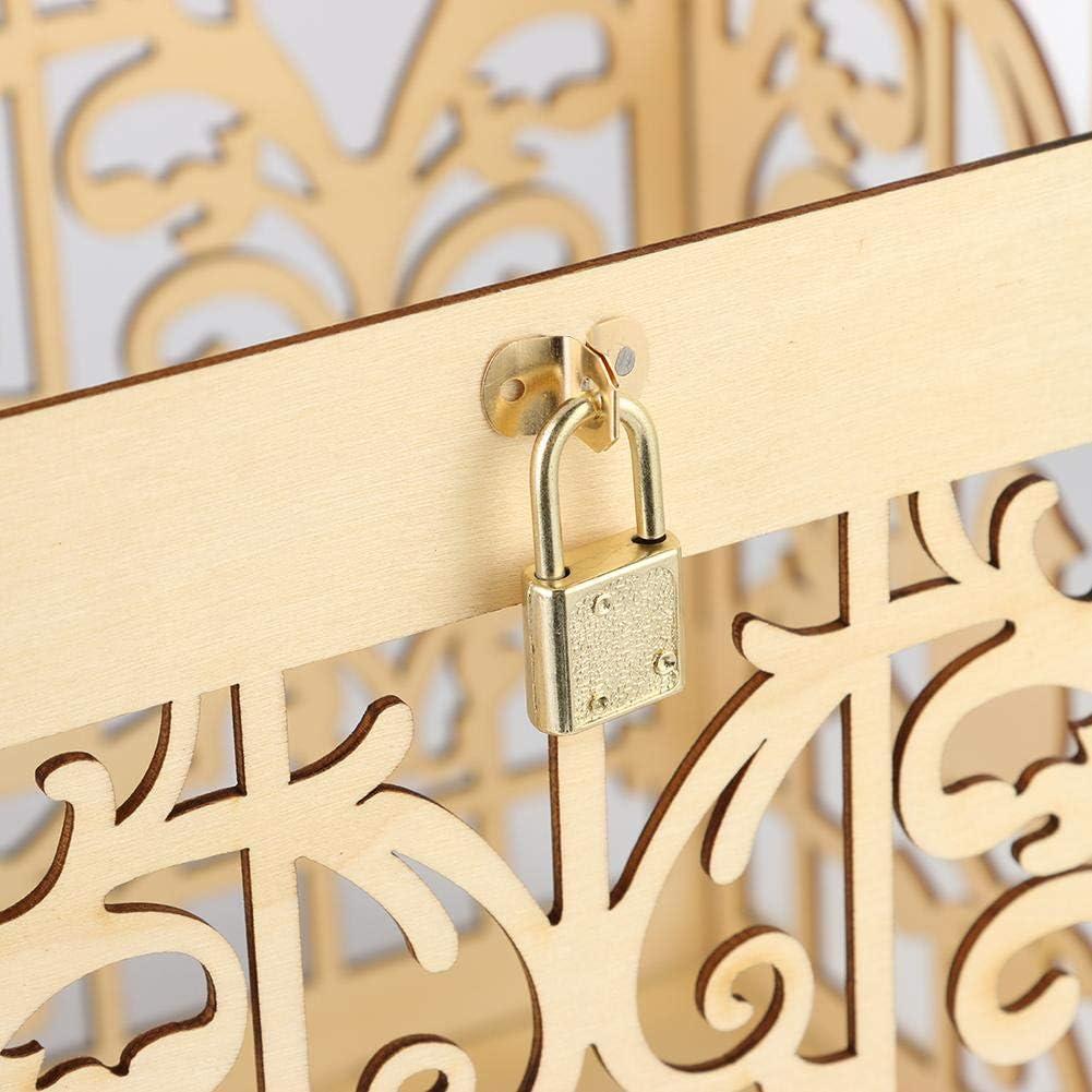 Demiawaking Scatola Porta Carte di Matrimonio in Legno con Serratura e Segno di Carta Scatole Regalo Rustiche Fai da Te per Feste di Compleanno,Matrimonio Amore Uccelli
