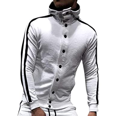 Piebo Hiver Homme Solide Parka Sweat Tops Hooded Cardigan Solide Bouton  Poche Loisirs Lâche Hoodie Blouson 0fe92d2a727