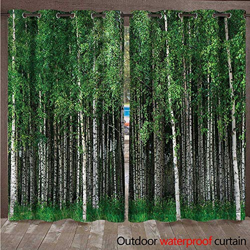 cobeDecor Forest Outdoor Curtains for Patio Sheer Swedish Summer Landscape W72 x L96(183cm x 245cm)
