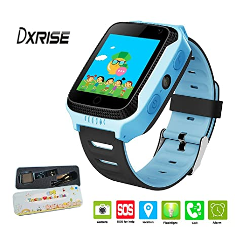 Dxrise - Reloj inteligente infantil (pantalla táctil, GPS con localizador, soporta tarjeta SIM