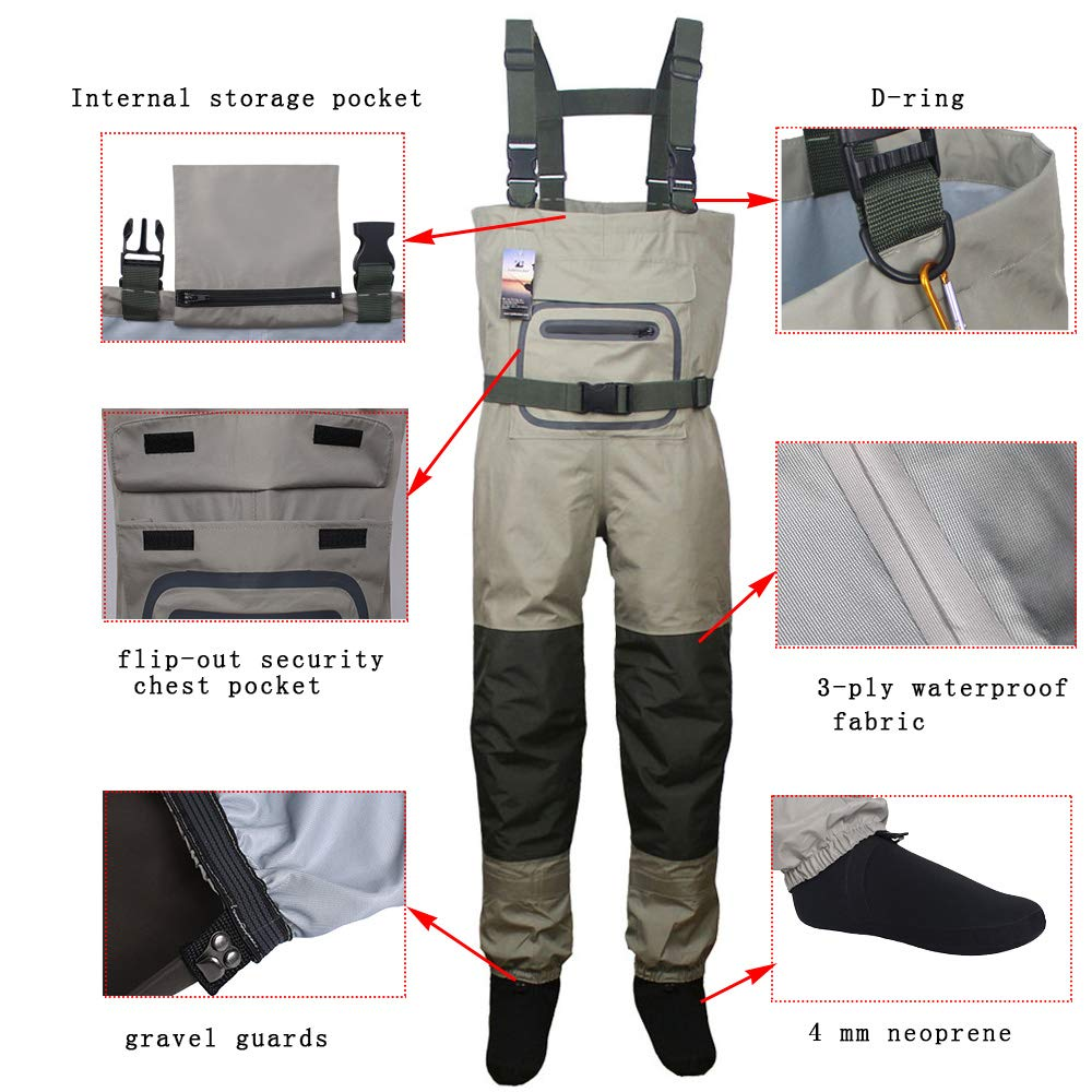 Kylebooker Fly Fishing StockingFoot Chest Waders Affordable Breathable Waterproof Chest Waders Trousers KB002
