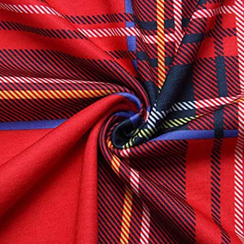 Full Abito Elegante Plaid Tasche Bhydry Donna Multicolore Da Vestito Maxi Con Manica Lunga Empire Length Vita TculF13JK