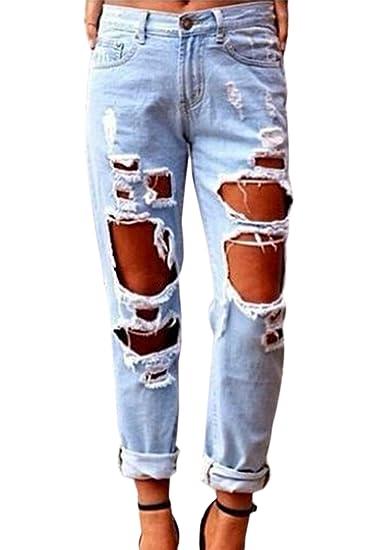 YACUN Damen Boyfriend Destroy Jeans Sommer Löcher Hose Ripped Jeanshosen Mit Loechern Röhrenjeans Bleistifthose