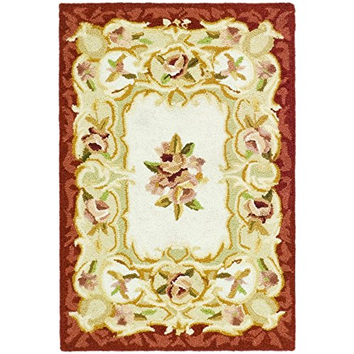 Safavieh Chelsea Collection HK73A Hand-Hooked Ivory and Burgundy Premium Wool Area Rug (1'8
