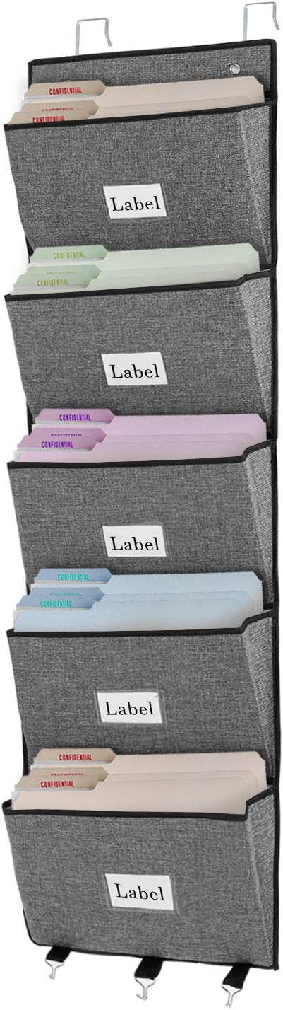 Over The Door File Organizer, Office Hanging Wall File Holder with 5 Large Pockets for Magazine, Notebooks, Mails, Document, Easy Organizing (Grey)