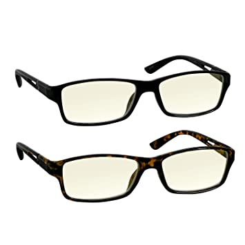 cbaded9d17f4 Computer Reading Glasses 1.0 Black and Tortoise for Men and Women Stylish  Look and Crystal Clear