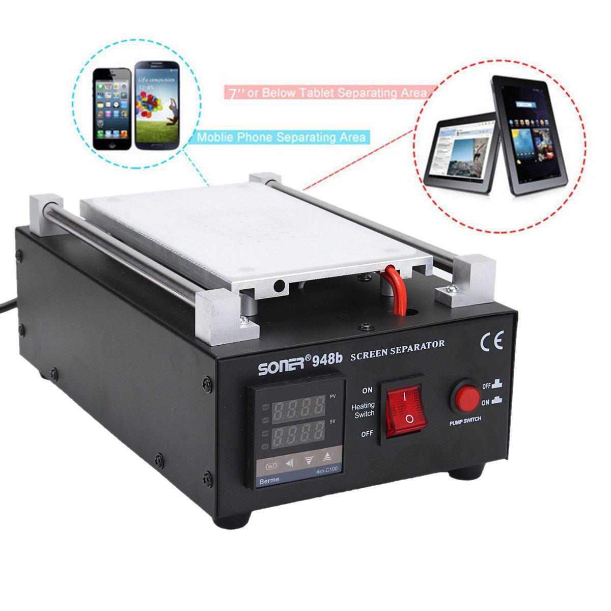 YaeTek iMAX LCD Screen Separator Machine Touch Screen Digitizer Removal Cell Phone LCD Glass Plate Build-in Pump Vacuum Repair LCD Screen for Smart Mobile Phone 7 Inch and Below Yaemart Corportation