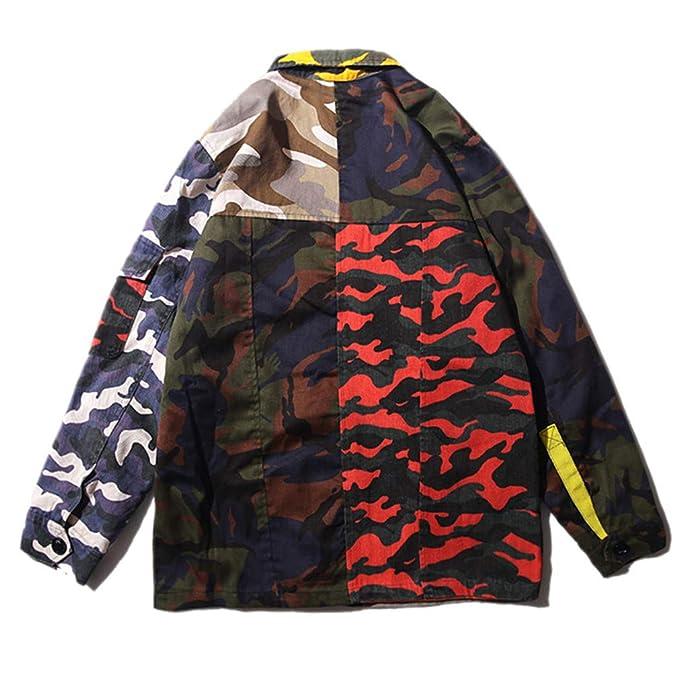 Amazon.com: Mens Camouflage Jackets Hip Hop Vintage Block Patchwork Jacket Streetwear Casual Bomber Jacket Autumn: Clothing