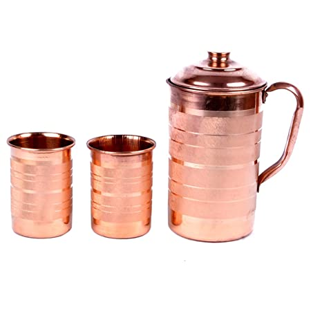Hand-e-Crafts Brown Color Copper Jug - 1500 ml and 2 Glass Sets (400 ml each)