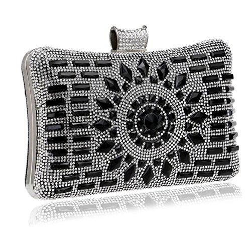 Paquete De Noche Para Damas Diamond Clutch Luxury Pillow-tipo De Bolsos Para Discotecas De Fiesta En Discotecas Black
