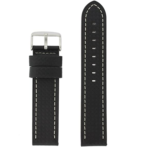 f59f1703049 Image Unavailable. Image not available for. Color  20mm Watch Band Long  Black Carbon Fiber White Stitching Water Resistant