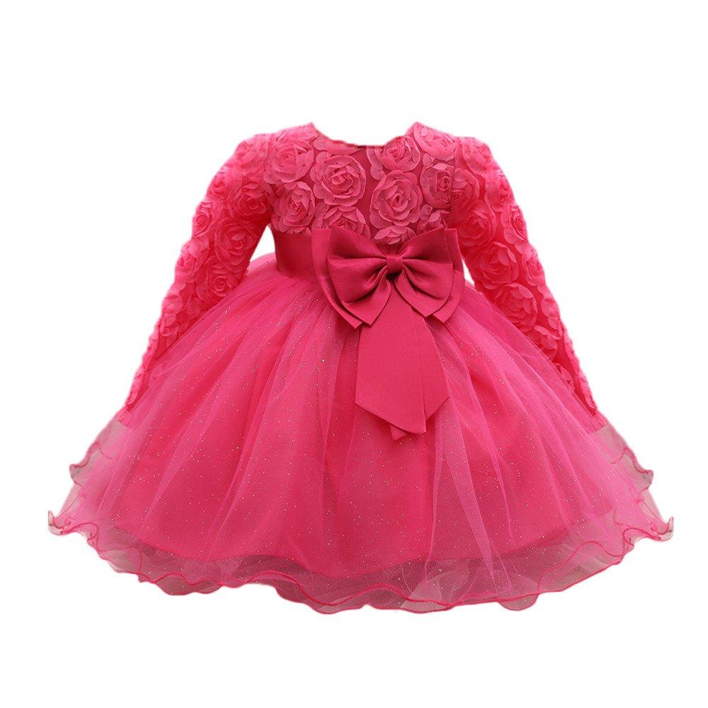 Vestido Bebé Niñas, ❤ Modaworld Vestidos de Fiesta de Boda de Princesa de Manga Larga para bebé niña Vestido de cumpleaños Bebés niña Recien Nacido: ...