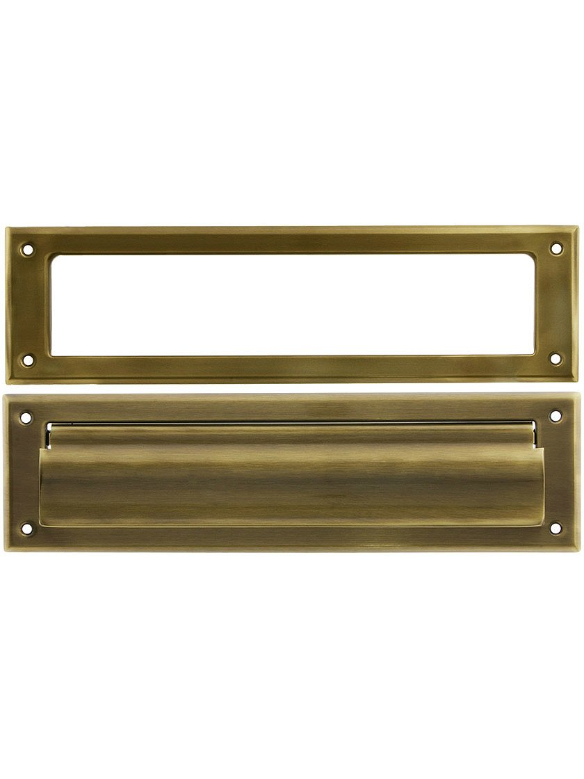 Solid Brass Magazine Size Mail Slot with Open Back Plate in Antique Brass by A'dor Architectural Hardware (Image #1)