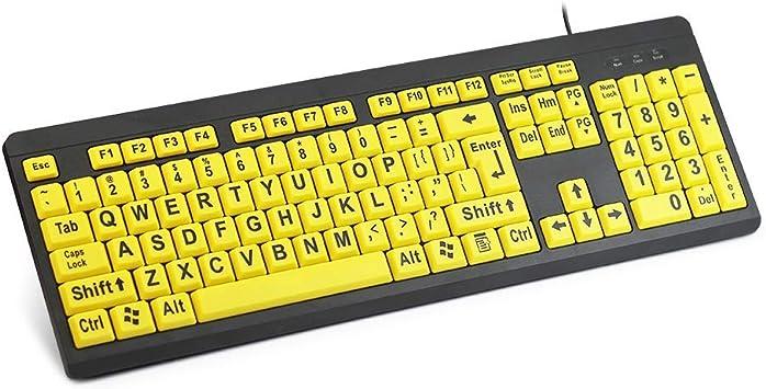 Teclado Grande para Ordenador con Teclas Amarillas y Letras ...