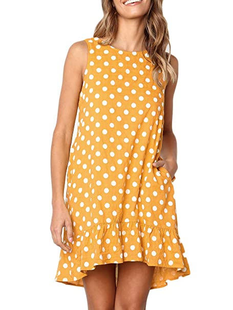42ab8d4beb79 Royalove Women s Midi Dress Sleeveless Polka Dots Ruffle Round Neck ...
