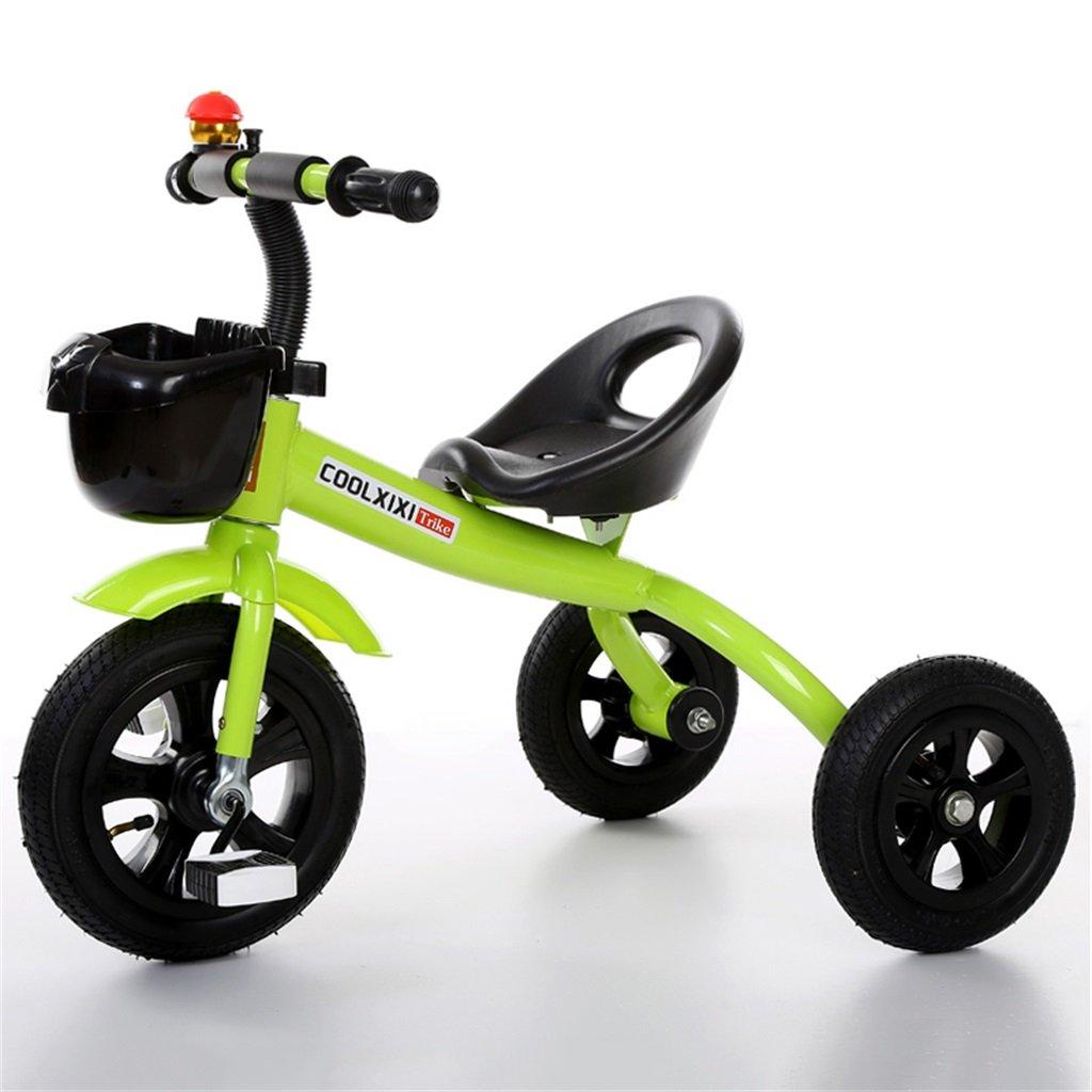 Triciclo Carro de bebé Bicicleta Niño Juguete Coche Rueda inflable / Plástico Bicicleta de rueda Adecuado para 1-2-3-4 años (niño / niña) Verde ( Tamaño : B-estilo )