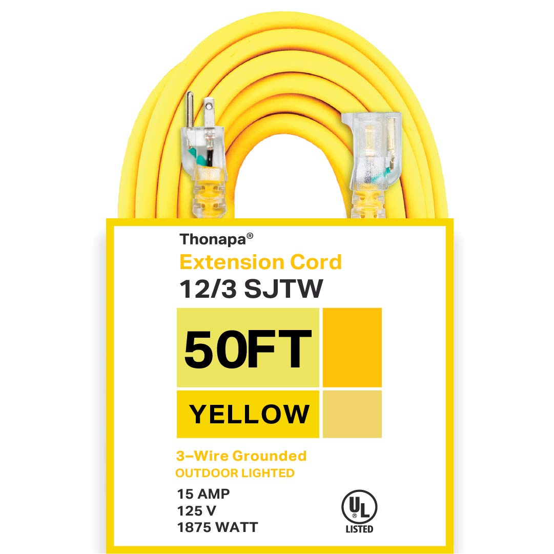 Thonapa 50 Foot Lighted Outdoor Extension Cord - 12/3 SJTW Heavy Duty Yellow Extension Cable with 3 Prong Grounded Plug for Safety - Great for Garden and Major Appliances