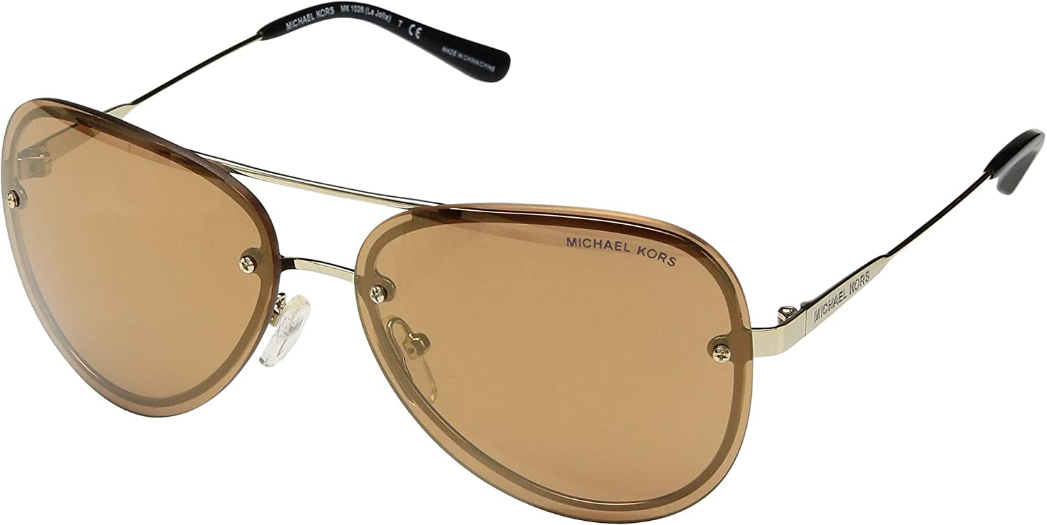 bcdea870c6945 Amazon.com  Michael Kors Women s La Jolla 0MK1026 59mm Pale Gold Tone Block  Gold Mirror One Size  Michael Kors  Clothing