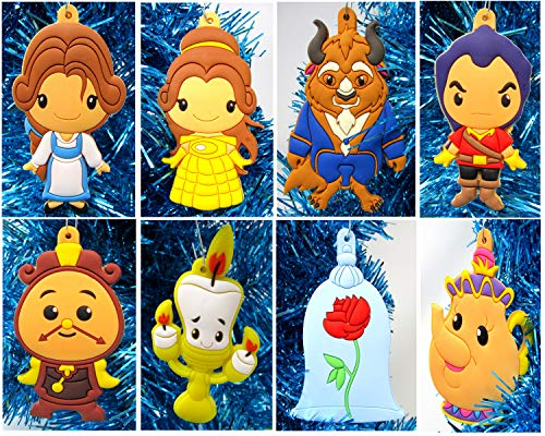 """Christmas Tree Ornaments Beauty and The Beast Mini Holiday Set Featuring Belle, Beast and Friends - Around 3"""" Tall"""